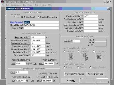 Ввод параметров головки акустика на авто