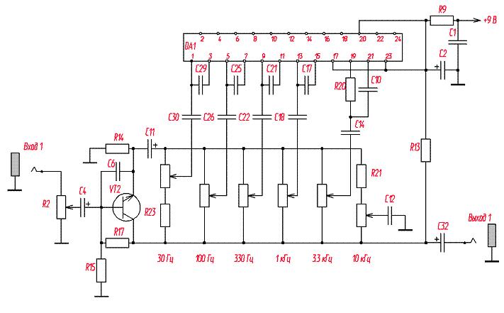 Схема работы 6-полосного эквалайзера