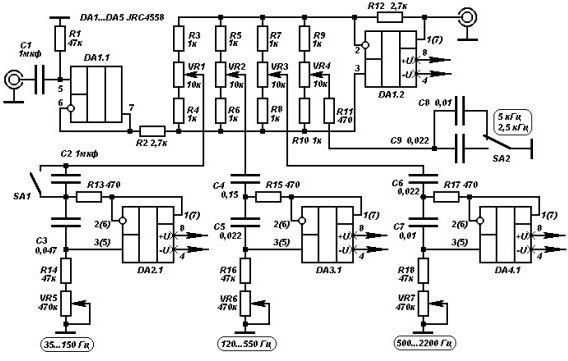 Принципиальная схема эквалайзера