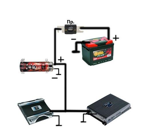 Схема установки конденсатора