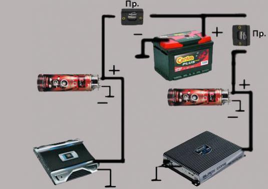 Правильная схема подключения усилителя и конденсаторов