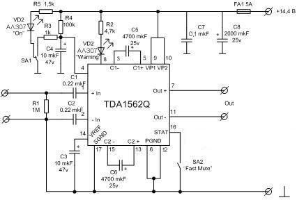 Усилитель сабвуфера tda1562q