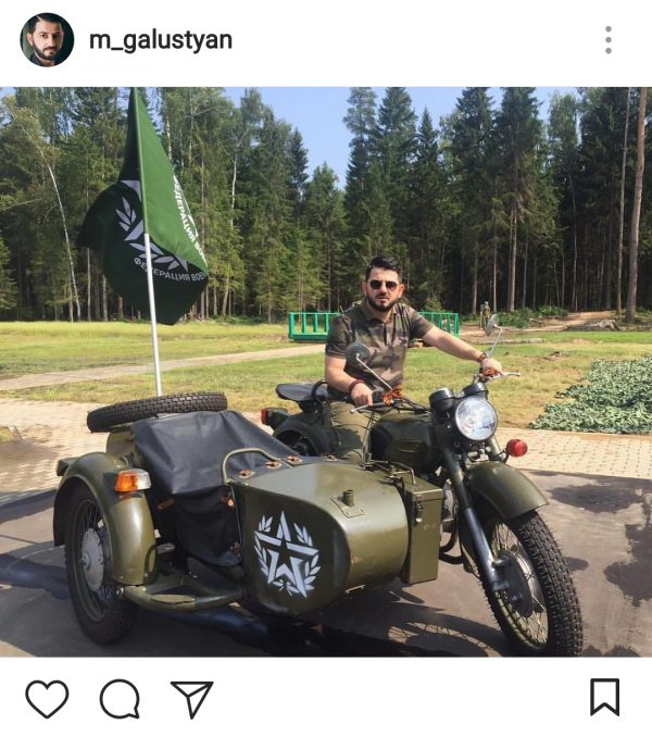 Михаил Галустян на мотоцикле