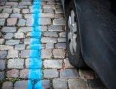 Синяя разметка на дороге