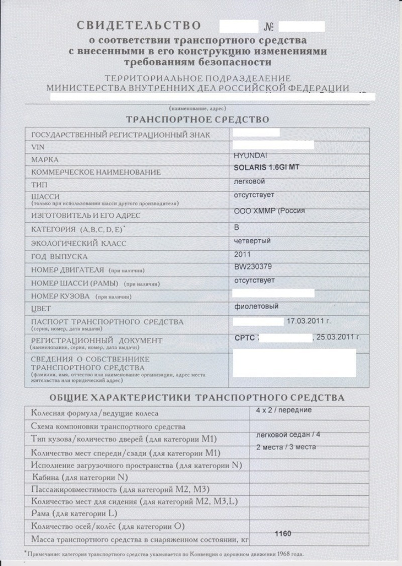 Свидетельство о соответствии ТС требованиям безопасности (пример)